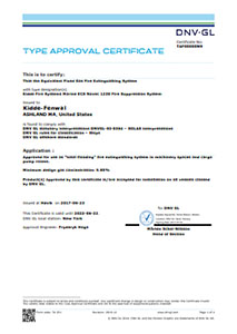 Type approval certificate. That the Equivalent Fixed Gas Fire Extinguishing System. Kidde Fire Systems Marine ECS Novec 1230 Fire Suppression system.