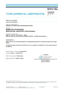 Type Approval certificate. Marine CO2 Fixed Fire Suppression system.